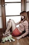 dziewczyny smutny z włosami czerwony Obraz Stock