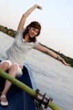 dziewczyny stanowić łodzi Obrazy Royalty Free