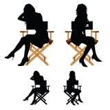Dziewczyny sylwetki obsiadanie na krzesło ustalonej ilustraci Obraz Stock