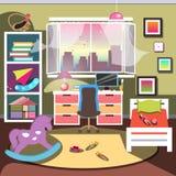 Dziewczyny sypialni wnętrze ilustracja wektor