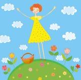 dziewczyny szczęśliwy idzie wzgórza pinkin ilustracja wektor