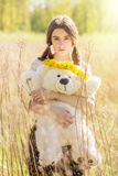dziewczyny teddy bear Zdjęcia Royalty Free