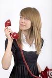 dziewczyny telefonu czerwieni nastolatek zdjęcie royalty free