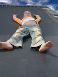 dziewczyny trampolinę odpoczywa obrazy stock