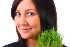 dziewczyny trawy zieleń obrazy stock