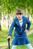 dziewczyny trawy zieleń Zdjęcia Stock