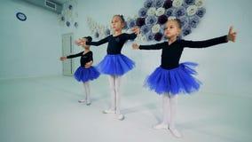 Dziewczyny trenuje przy balet klasą, zakończenie w górę zbiory wideo
