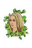 Dziewczyny twarz, abstrakcjonistyczny tło Obraz Royalty Free