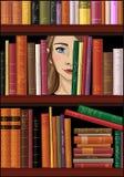 Dziewczyny twarz za półka na książki, wektorowa ilustracja ilustracja wektor