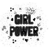 Dziewczyny władza z korony literowaniem na z białym tłem r Feministyczna wycena feminists fotografia stock