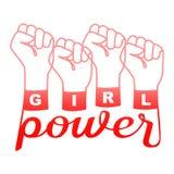 Dziewczyny władzy koszulki mody druk na białym tle ilustracja wektor