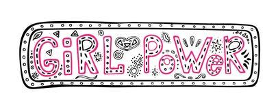 Dziewczyny władzy literowania zwrot w ramie, inspiracyjna wycena, barwiona graficzna ilustracja w doodle stylu, kobiety motywacja ilustracja wektor
