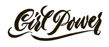 Dziewczyny władzy literowanie Ręka rysująca szczotkarska pióro kaligrafia Inspirat Zdjęcie Stock