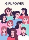 Dziewczyny władzy plakat Feminizmu pojęcie royalty ilustracja