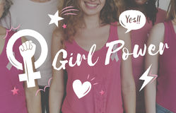 Dziewczyny władzy równości kobiet ` s prawicy Feministyczny pojęcie Obraz Stock