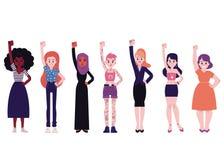 Dziewczyny władzy wektorowy ilustracyjny ustawiający z różnorodność multiracial młodymi kobietami stoi z pięściami podnosił w gór ilustracja wektor