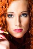 dziewczyny włosiana portreta czerwień seksowna Zdjęcie Royalty Free