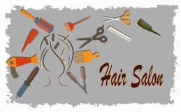 dziewczyny włosianego fryzjerstwa illusration długi salonu wektor ilustracji