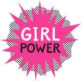 Dziewczyny władza Feministyczny slogan na komiczka stylu tle Fotografia Stock