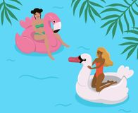 Dziewczyny w basenie na nadmuchiwanych flamingach i łabędź r?wnie? zwr?ci? corel ilustracji wektora ilustracji