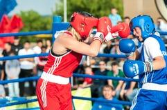 Dziewczyny w bokserskiej rywalizaci Fotografia Stock
