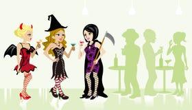 Dziewczyny w Halloween przyjęciu ilustracji