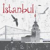 Dziewczyny wierza i Bosphorus most Obraz Royalty Free