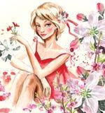 dziewczyny wiosna ilustracji