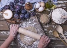 Dziewczyny wręczają promoci świeżo przygotowanego ciasto robić od naturalnych składników dla piec domowej roboty kulebiaka z śliw obrazy stock