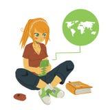 Dziewczyny Writing wiadomość tekstowa na Jej telefonie komórkowym royalty ilustracja