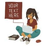 Dziewczyny Writing wiadomość tekstowa na notatniku royalty ilustracja