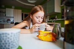 dziewczyny wypić herbatę Zdjęcie Stock