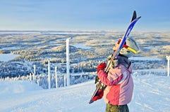 dziewczyny wzgórza mała narciarka Zdjęcia Royalty Free