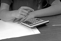 dziewczyny z kalkulator obraz stock