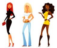 Dziewczyny z różnorodnym moda stylem, osobowością i royalty ilustracja
