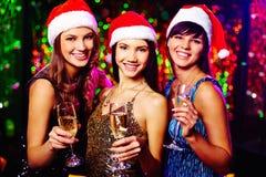 Dziewczyny z szampanem fotografia stock