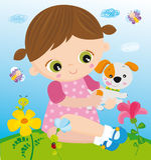 dziewczyny zwierzę domowe ilustracja wektor