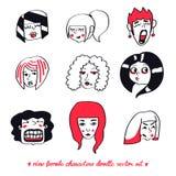 Dziewięć żeńskich charakterów doodle wektoru set ilustracji