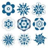 Dziewięć błękitnego kwiatu ustalony wektor royalty ilustracja