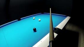 Dziewięć balowych basenów billiards - pośredni wkładać do kieszeni dziewięć piłka widzieć od wskazówki POV zbiory wideo