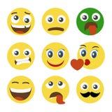 Dziewięć emoticons na bielu Zdjęcia Stock
