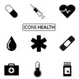Dziewięć ikon w czarny i biały Zdjęcie Stock