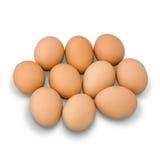 Dziewięć jajek grupa na bielu z cieniem zdjęcia stock