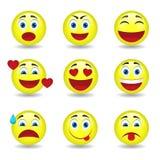 Dziewięć kółkowych emoticons Obrazy Stock