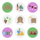 Dziewięć kolorów płaska ikona ustawiająca - wino produkcja ilustracja wektor