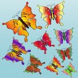 Dziewięć kolorowych jaskrawych motyli Obraz Royalty Free