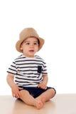 Dziewięć miesięcy stary dziecko z żeglarza spojrzeniem Zdjęcia Stock