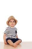 Dziewięć miesięcy stary dziecko z żeglarza spojrzeniem Fotografia Stock