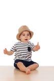 Dziewięć miesięcy stary dziecko z żeglarza spojrzeniem Obrazy Stock