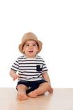 Dziewięć miesięcy stary dziecko z żeglarza spojrzeniem Zdjęcie Stock